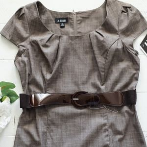 Brown Belted Sheath Dress